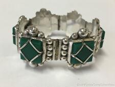 "Estate Vintage Green Agate Panel Bracelet Sterling Silver 6.75"" Taxco Mexico"