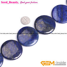 """40mm Large Coin Gemstone Lapis Lazuli Beads for Jewelry Making Strand 15"""""""