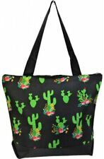 Super Cute Canvas Cactus Print Tote Bag-Monogram Included