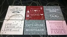 Bundle of Six Hanging Wall Plaques quotes home decor family new lounge kitchen