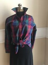 Vintage Halston III Womens Plaid Long Sleeve Button Down Preppie Top Shirt 14