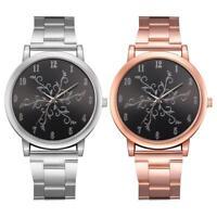 LVPAI Flower Dial Wrist Watch Women's Stainless Steel Band Quartz Wristwatch
