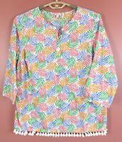TB09567-TALBOTS Women's Thin Light Cotton Blouse Fringe Multicolor 3/4 Sleeve 1X