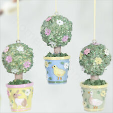 3 x Spring Topiary Resin Ornaments Easter Tree Hanging Decorations Gisela Graham