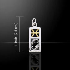 Pisces Zodiac Symbol Astrology .925 Sterling Silver Charm by Peter Stone