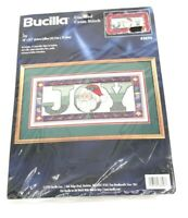 "Bucilla counted cross stitch kit Joy # 83696 18"" x 8.5  picture or pillow Santa"
