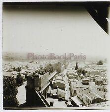 FRANCE Aigues-Mortes Panorama 1932 Photo Stereo Plaque de verre Vintage n4