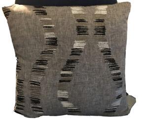 """Grey Black Silver Modern Design Fabric cushion cover Prestigious? 16.5"""" D/ Sided"""