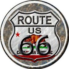 "Route 66 California Flag 12"" Round Metal Sign Novelty Retro Home Wall Decor"