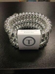 Teleties 3 Pack Large Hair Ties Electric Silver Ponytail Holder Bracelets NEW