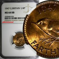 Great Britain George VI Bronze 1947 Farthing NGC MS64 RB KM# 843