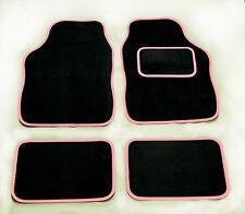 PEUGEOT 407 (2004 on) UNIVERSAL Car Floor Mats Black & PINK