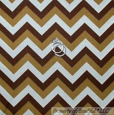 BonEful Fabric FQ Cotton Quilt Brown Tan White Zig Zag CHEVRON Tone Shade Stripe