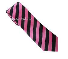 Cravate HOMMES FEMMES Cravate étroit rayé noir rose - Neuf