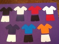 40 x Football tops and shorts die cuts (Various colours) **FREE UK POSTAGE**