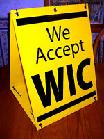 WE ACCEPT WIC Sandwich Board Sign A-Frame Kit NEW Black on Yellow