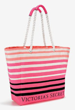 NWT VICTORIA'S SECRET PINK BLACK WHITE STRIPED LARGE TOTE BEACH BAG ROPE HANDLE