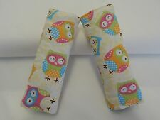 Baby Seat Strap Covers Car Highchair Stroller  - Owls on Cream