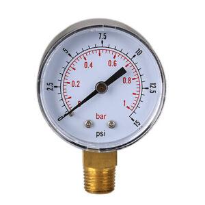 0/15 PSI 0/1 Bar Manometer Meter Hydraulikdruck Tester Manometer Druckprüfer