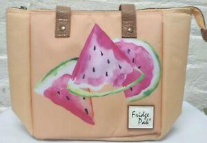 Fridge Pak Fully Insulated Cooler Lunch Tote Orange Watermelon Print 13x9.25x6