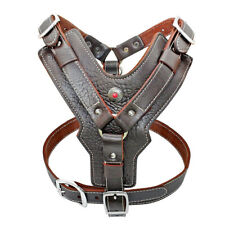 Soft Genuine Leather Dog Harness Adjustable Heavy Duty Vest for Pit Bull Boxer