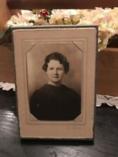 Antique Early 1900s Cabinet Photo Of Woman Wearing Black Dress Top Portrait