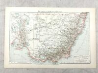 1895 Australia Victoria New South Wales Map Antique 19th Century Victorian