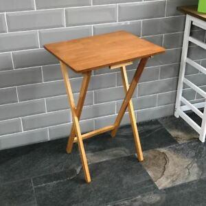 Folding Snack Table Wooden Antique Pine Desk Foldable Portable Dining Laptop