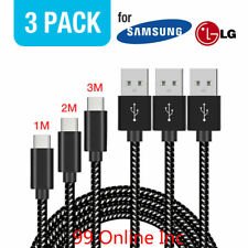 3 Pack Samsung Galaxy S8 S9 Plus Note 9 Fast Charging Type C USB-C Charger Cable