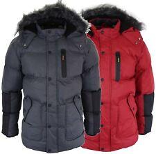 Mens Padded Puffer Parka Jacket Red Grey Warm Fur Hood Autumn Winter