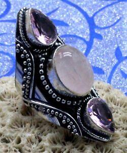 "925 Sterling Silver Rose Quartz & Topaz Gemstone Jewelry Vintage Ring(US)S-7"""