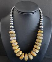 Sterling Silver Bumblebee Jasper W Navajo Pearls Bead Necklace. 18 inch