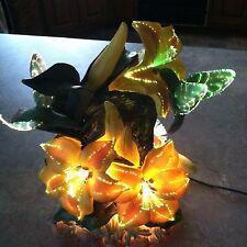 Fiber Optic Dual Hummingbird LED Color Change Yellow Azeleas Night Light Lamp
