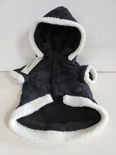 New listing East Side Collection Dog Puppy Hooded Jacket M Navy Blue White Sherpa Trim Nwt