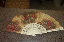 """Vintage Ladies Folding Fan Travel Souvenir Excellent shape! 17"""" spread floral"""