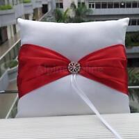 Elegant Satin Bowknot Pearl/Rhinestone Ring Bearer Pillow Cushion Wedding Bridal