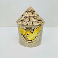 Vintage Otagiri OMC Yellow Bird Birdhouse Bank Thatched Roof