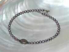 Center Etched Oval Silvertone Bead Bracelet Estate Purple Faux Pearl Beads with