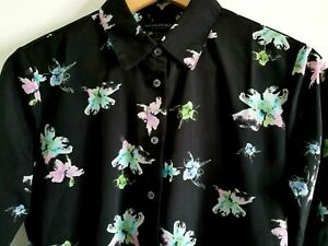 Banana Republic Dillon Shirt Top Petite S Small Floral Long Sleeve Button Up