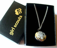 "Girl Scout TRADITIONAL TREFOIL DISC NECKLACE 18"" Silver Jewelry Charm GIFT Wow!"