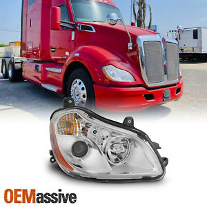 Fit Kenworth T680 13-19 OE Chrome Housing Projector Headlights Right Passenger