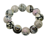 16mm Dendrite Gemstone Buddha Buddhist Prayer Beads Tibet Bracelet Mala Bangle