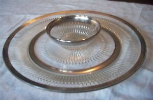 VINTAGE GLASS WITH SILVER TRIM SERVING PLATTER & DIP BOWL