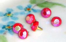#23J Vintage Glass Doll Buttons Pink AB Aurora Borealis Rose 5mm Tiny Mini NOS