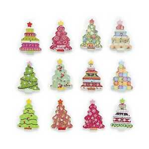 30pcs Christmas Tree Wood Buttons Sewing Scrapbook Craft Clothing Decor 35x25mm