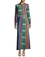 NWT Diane von Furstenberg Long-Sleeve Collared Flare Silk Maxi Dress 10 $498