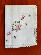 Vintage Ladies Hankie Embroidered Pink Floral