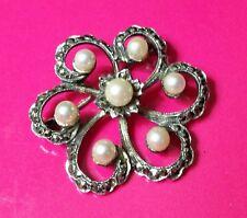 Vintage Flower Brooch,Pearls & Marcasite,Sterling