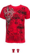 MENS DESIGNER T SHIRTS FOR MEN STEAMPUNK EMBOSSED CREW NECK T SAKKAS CROSS RED S