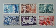 France 1955 série 1012 1013 1014 1015 1016 1017 oblitérés inventeurs célèbres
